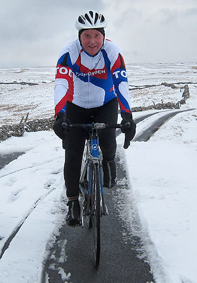 All our kit is designed by Tod Harrier Geoff Read - pictured here modelling the long-sleeved winter top.