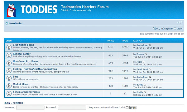 TODDIES FORUM  LOGIN/REGISTER SCREEN